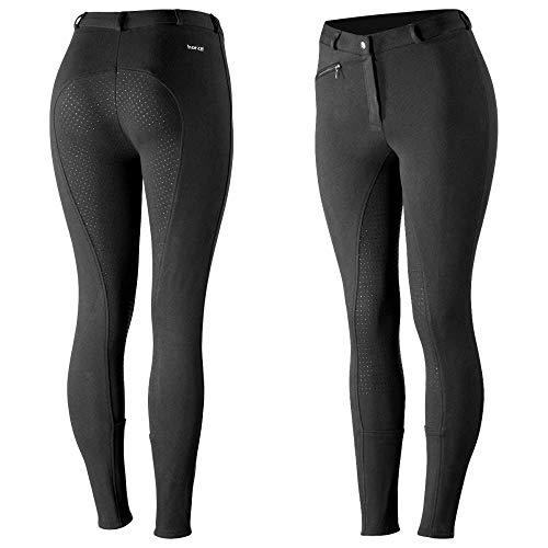 HORZE Pantalones de Montar Active para Mujer con Asiento Completo de Silicona, Bolsillos con Cremallera y bajo elástico, Todas Las Tallas, Negro, 42