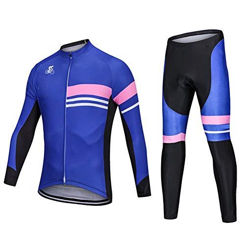 XYHLM Ropa De Ciclismo, MTB Invierno Hombre Camisetas De Ciclismo Manga Larga Y Mallas con Pechera Hombre Trajes De Ciclismo,L