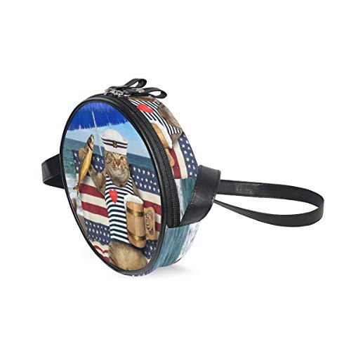 Emoya Damen Umhängetaschen, Katzen-Motiv, Bier, geräucherter Fisch, blauer Regenschirm, tropischer Strand, Leder, Reißverschluss, Umhängetasche, runde Handtasche