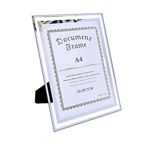 shuny A4 Photo Certificate Frame,A4 Bilderrahmen Aus Glas,A4 Urkunden Rahmen,Plakatrahmen,Aus dickem Glas,SchöNes Aussehen und Langlebig,Fotorahmen für Zertifikate, Dokumente und Fotos,Silber