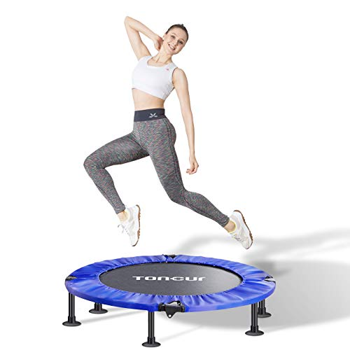 Toncur Fitness-Trampolin Ø ca 102 cm, Faltbarer Rebounder, 5-Fach höhenverstellbarer Haltegriff, Nutzergewicht bis 150kg, inkl.6 Saugnäpfe, leises Trainingstrampolin für Indoor Outdoor Jumping (ST-02)