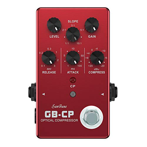 SanJune GB-CP Optical Compressor Guitar and Bass Effects Pedal, Red