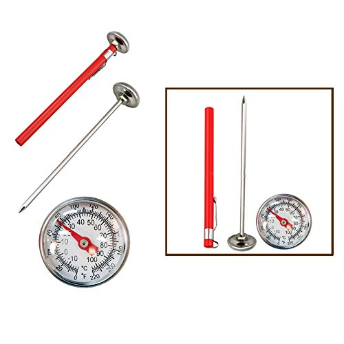 LNIMIKIY Thermometer 127mm Multifunctionele RVS Tuin Meet Fahrenheit Celsius Draagbare Keuken Gereedschap Compost Bodem Koffie Lichtgewicht Wijzerplaat Display Melk