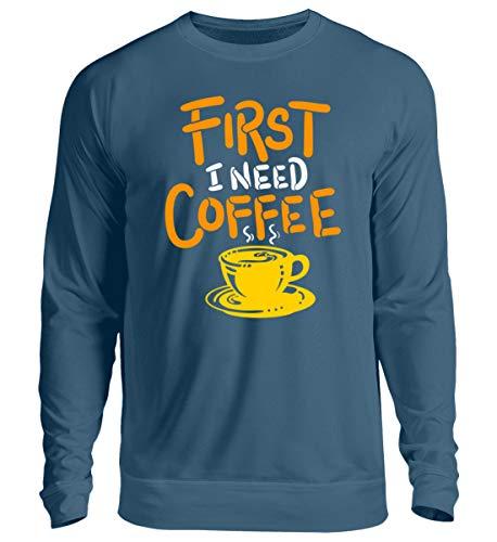 DiSzy First I Need Coffee - Sudadera unisex para todos los amantes del café y cafeínas azul azur L