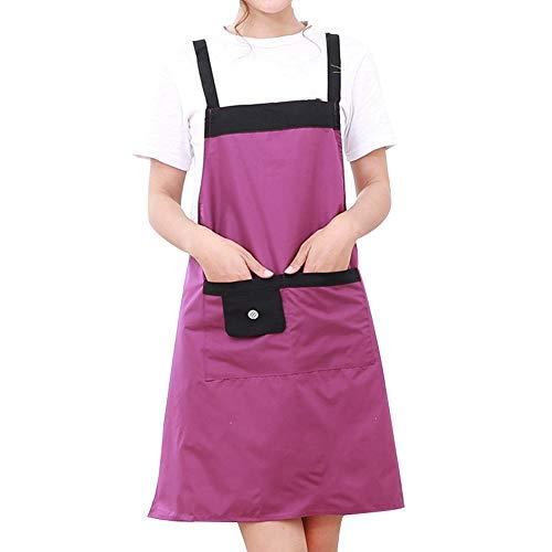 Gaoominy Tablier de Coiffeur Violet Uniforme de Bavoir RéGlable éTanche avec 2 Pochettes Kit de Coiffure Outil de Coiffure de Salon