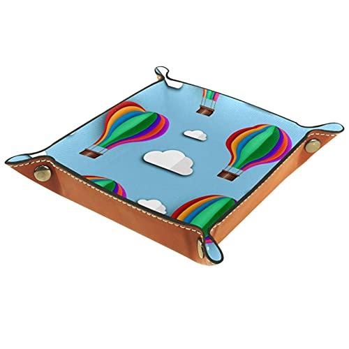 Bandeja de cuero para hombres y mujeres, organizador de escritorio personalizado para joyas, cosméticos, gafas, cartera, oficina, uso doméstico, viaje, globo de aire caliente azul
