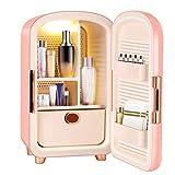 TELAM Mini nevera cosmética portátil Mini frigorífico de belleza Skincare frigorífico de almacenamiento cosmético refrigerador personal para coche de dormitorio de dormitorio (rosa)