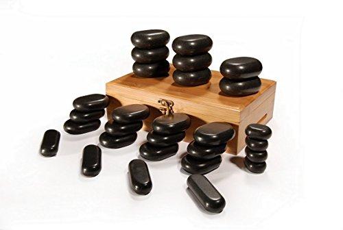 Masajeador de piedras calientes en caja de bambú decorativa