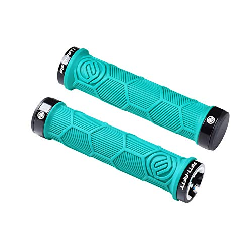 FIFTY-FIFTY Double Lock-On Mountain Bike Grips, Bicycle Handlebar Locking Grips, Non-Slip MTB Handle Grips (Turquoise)