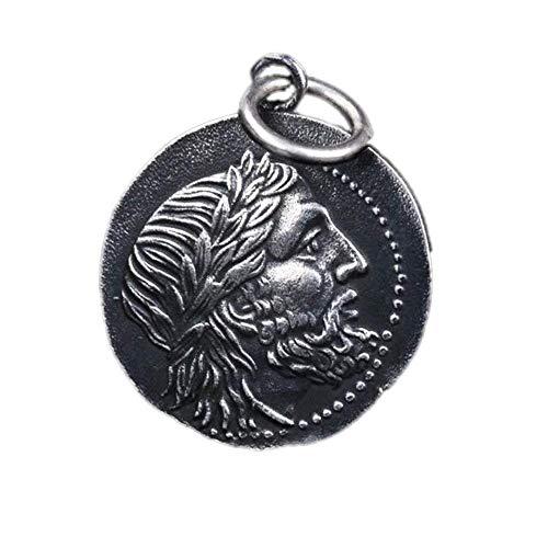 Pendentif de pièce de monnaie de Poséidon grec ancien en argent thaïlandais pour homme S925 pendentif en argent pur fait à la main à double face en argent