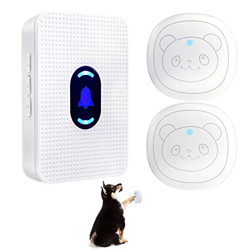 Daytech Dog Door Bell for Potty Training Doggie Doorbells IP55 Waterproof Touch Buttons with 55 Melodies 5 Volume Levels LED Flash (2 Touch Buttons)