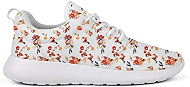 Girl Men's Watercolor Flower Pattern Skateboard Low Help Running Shoes Classic Running Shoes