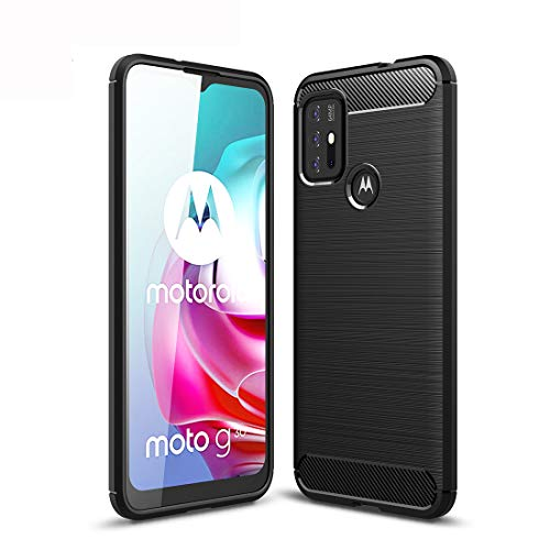WEIOU Silikon Hülle für Motorola Moto G30   G10 Case, Handyhülle Carbon Fibre Texture TPU Soft Case Stoßfest Schutzhülle Cover Bumper. Schwarz