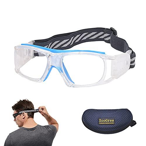 SooGree Sport Glasses for Men Women Basketball Football Sport Goggles Anti Fog Shock Collision Wearable Glasses (Transparency Frame Blue Pad)