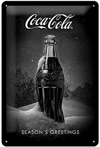 Nostalgic-Art 62753 Coca-Cola Special Edition Sneeuwzwarte fles, Blik, Metaal, Kleurrijk, 20 x 30 cm