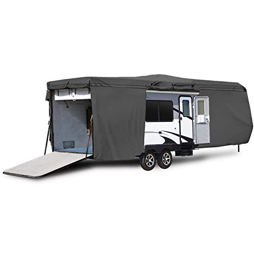 Waterproof Durable RV Motorhome Travel Trailer/Toy Hauler Cover Fits Length 27'-30' Travel Trailer Camper Zippered Panels Allow Access To The Door, Engine, Side Storage Areas, and Ramp Door