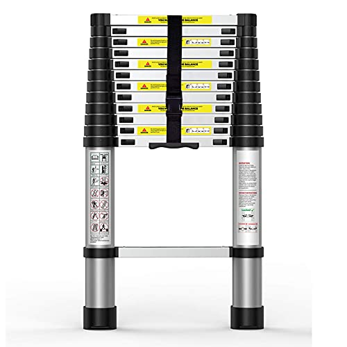 Suwinus 12.5 FT Aluminum Telescoping Ladder Collapsible Extension Ladder with Traceless Alu Tube Design Spring Loaded Locking Mechanism for Outdoor Indoor Use 330 Pound Capacity
