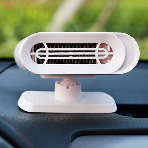Iwinna Ventilador de aire para coche, color blanco, multifunción, descongelador, ventilador de aire caliente