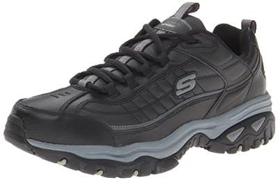 Skechers Men's Energy Afterburn Lace-Up Sneaker,Black/Gray,10.5 XW US