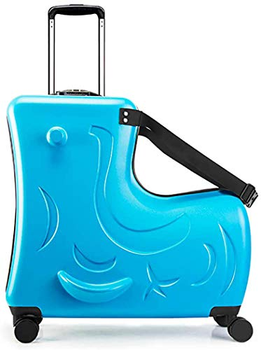 ANGELCITY スーツケース 子供が乗れる 木馬形 キッズキャリーケース キャリーバッグ 軽量 静音 かわいい 女の子 男の子 丈夫 旅行 帰省 お出掛け 遠足 20/24インチ おしゃれ 一年保証 N2 (24インチ, ブルー)