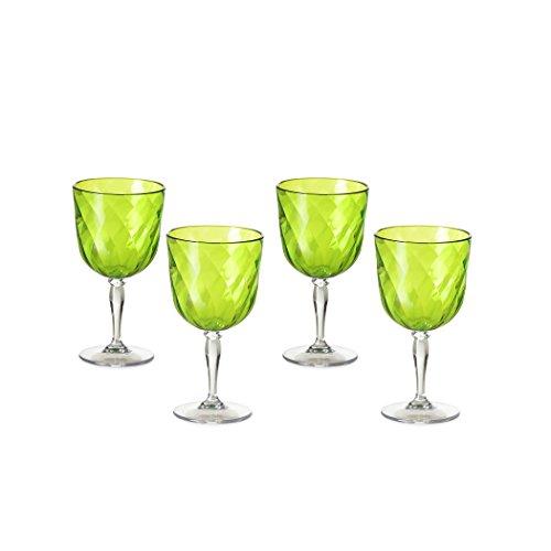 Omada Design Set di 4 Calici da Vino in plastica, 27,5 cl, Made in Italy, Lavabili in Lavastoviglie, Linea Diamond, Colore Verde