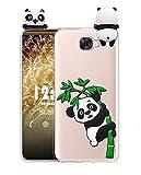 Sunrive Funda para Huawei Y6 II Compact/Y5 II, Silicona Transparente Funda Slim Fit Gel 3D Carcasa Case Bumper de Impactos y Anti-Arañazos Espalda Cover(W1 Panda 2) + 1 x Lápiz óptico