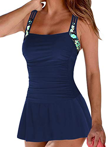 EVALESS Women's One Piece Swimsuit Swimdress Ruched Retro Backless Bathing Suit Blue S