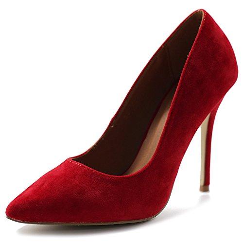 Ollio Women's Faux Suede Point Toe Shoe High Heel Multi Color Pump ZM9004(7 B(M) US, Red)
