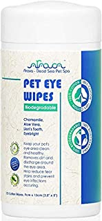 Arava Pet Eye Wipes - for Dogs Cats Puppies & Kittens - 100 Count – Natural - 100% Biodegradable - Removes Dirt Crust and ...