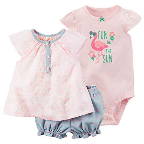 Pack de 3 Bebé Niñas Body Mono de Sin Mangas + Top + Shorts Mameluco Algodón Peleles Pijama Regalo de Recien Nacido