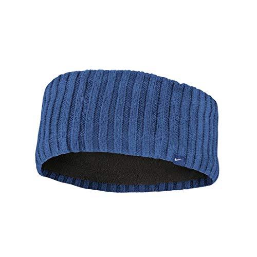 NIKE Knit Wide Cinta del Pelo, Azul Marino/Negro/Plateado, Talla única