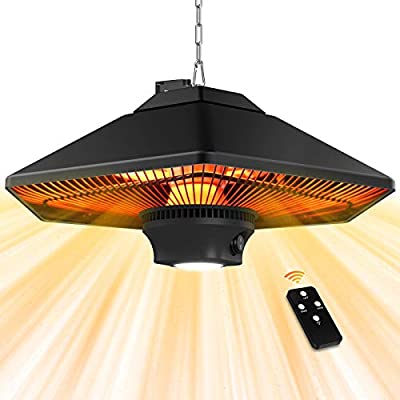 Electric Patio Heater Outdoor - Ceiling Mounted Heater 1500W with Remote Control and LED Lamp, Super Quiet Hanging Electric Heater with 3 Power Modes Fast Heating for Gazebo Balcony Porch and Restaurant Black