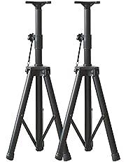 2 Trípodes Soporte Altavoz Telescópicos Plegables, Bandeja Desmontable, Apertura De 3,5 Cm, Negro (Size : 65cm-130cm)