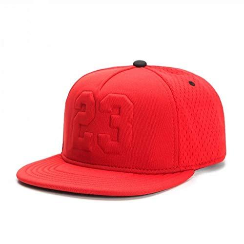 Kuletieas Gorras De Hombre Gorra de Verano Transpirable de Secado rápido Rojo 23 Gorra Snapback Deportes para Adultos Hip Hop al Aire Libre Gorra de béisbol para el Sol Rojo