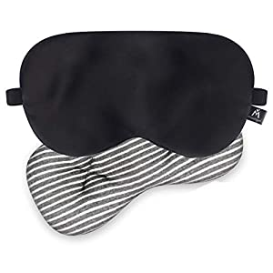 🌙2 IN 1 USE Sleep Mask- Come with a 100% pure silk sleep eye mask & a removable eye pillow, so you can use the silk sleep mask for daily use or wear it with eye pillow when you need cold soothing. 🌙Soothes Tired & Puffy Eyes -The inside removable eye...