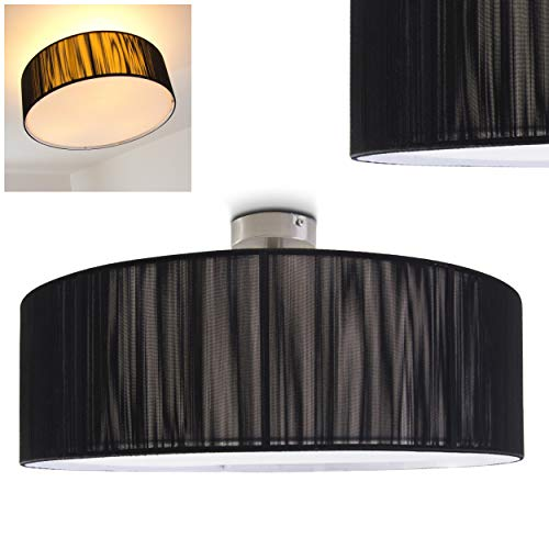 Plafondlamp Foggia, ronde plafondlamp met lampenkap van zwarte stof, Ø 50 cm, LED-compatibel, 3 x E27 stopcontact, 40 Watt, retrodesign