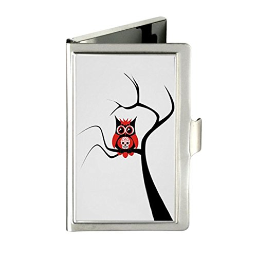 Red Sugar Skull Owl in Tree Poster Customize Unique Durable Stainless Steel Wallet Business Name Card Holder Box Case