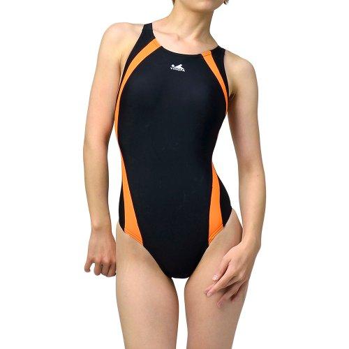 【Yingfa】レディース ワンピース競泳水着【yf-972】 (2XL, ブラック/オレンジ)