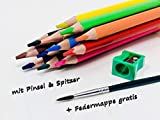 Super Aquacolor lápices de madera gruesos de maquillaje juego de 12 con sacapuntas, pincel + estuche gratis | pintura sobre madera + papel de maquillaje, dibujo | lacado, medio suave, irrompible
