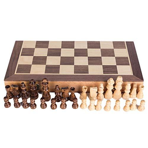Phoetya Juego de ajedrez magnético Chess Armory, juego de ajedrez de nogal, tabla de ajedrez plegable, caja de almacenamiento Staunton, tablero de ajedrez de madera (80/40 x 40 x 2,5 cm)