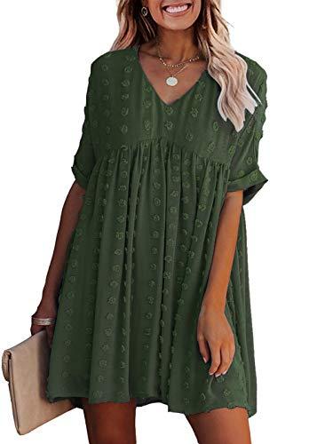 KIRUNDO 2021 Summer Women's Mini Dress Short Sleeves Sexy V Neck Flowy Dress Swiss Dot Faux Short Loose Fit Pregnant Dress (Medium, Army Green)