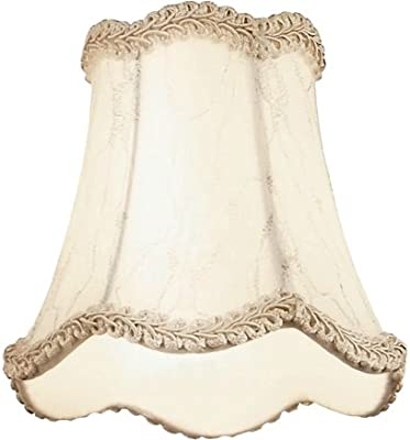 Kichler 4114 Shade Accessory, White Lace Fabric with Silver Embroidery and Beige Trim