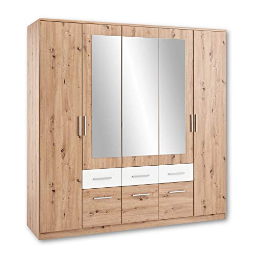 Stella Trading FLORIDA Eleganter Kleiderschrank mit Spiegel - Vielseitiger Drehtürenschrank mit viel Stauraum in Artisan Eiche Optik, Weiß - 212 x 213 x 60 cm (B/H/T)