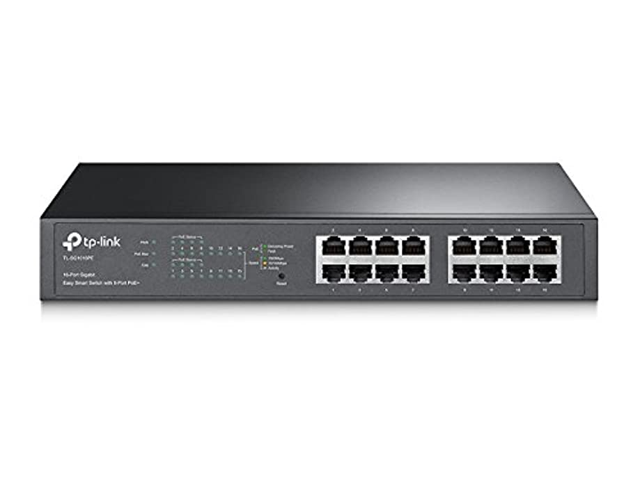 TP-Link 16-Port Gigabit PoE+ Easy Smart Managed Switch with 110W 8-PoE Ports | Unmanaged Plus | Plug and Play | Desktop/Rackmount | Metal | Lifetime (TL-SG1016PE)