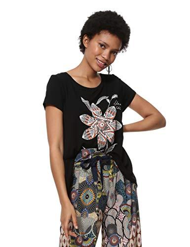 Preisvergleich Produktbild Desigual Damen Short Sleeve Apaches Woman Black T-Shirt,  Schwarz (Negro 2000),  Large