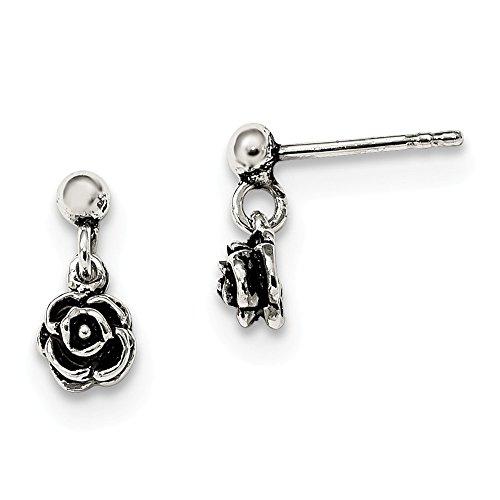 925 Sterling Silver Rose Drop Dangle Chandelier Post Stud Earrings Flower Gardening Fine Jewellery For Women Gifts For Her