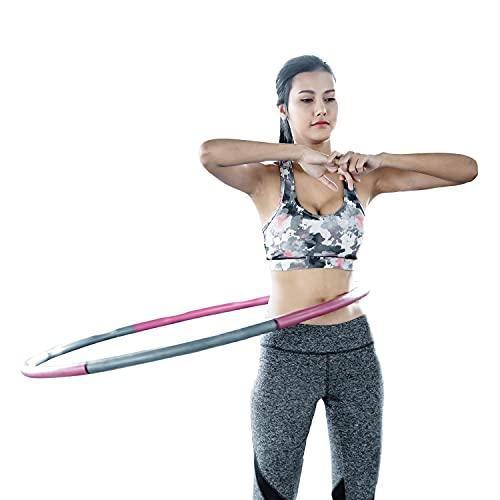 Jung & Durstig | Fitness Hula Hoop Reifen für Erwachsene mit Gewicht, Hola Hup 1,35 kg, 100 cm Fitnessreifen | Pink Grau