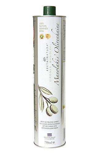 KretaNatura Natives Olivenöl Extra Kaltgepresst & Filtriert | 100{bb88bddde49f4577a9787bc193a62e909e8fd5b885dd3d5c21e5cbc2fd245043} natürliches & reines Olivenöl für Feinschmecker - Kreta, Griechenland | sortenreine Koroneiki Oliven | 750-ml Flasche
