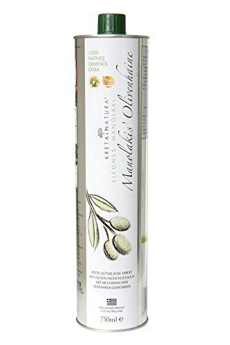 KretaNatura Natives Olivenöl Extra Kaltgepresst & Filtriert | 100% natürliches & reines Olivenöl für Feinschmecker - Kreta, Griechenland | sortenreine Koroneiki Oliven | 750-ml Flasche