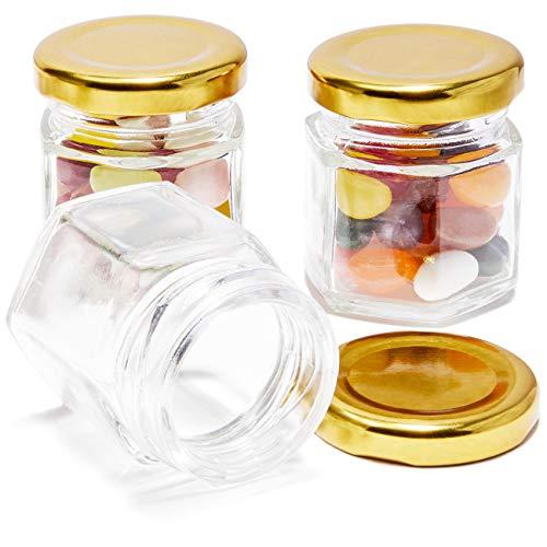 Juego de 36 mini tarros de Mason – tarro transparente con tapas doradas para especias, miel, jama, comida para bebé, gran regalo para boda, novia y baby shower, 1,5fl oz